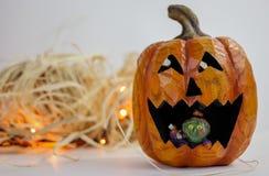 Abóbora cinzelada de Halloween Imagem de Stock Royalty Free