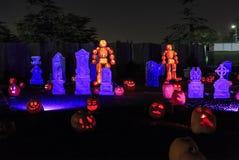 Abóbora com luz na noite Imagem de Stock Royalty Free