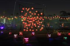 Abóbora com luz na noite Fotografia de Stock