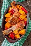 Abóbora cozida com galinha Foto de Stock Royalty Free