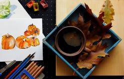 Abóbora da pintura da aquarela com uma xícara de café Imagem de Stock