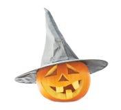 abóbora das Jack-o'-lanternas em um chapéu Fotografia de Stock