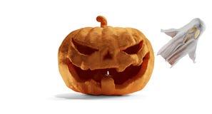 Abóbora de Dia das Bruxas e fantasma 3d-illustration ilustração do vetor