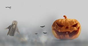 Abóbora de Dia das Bruxas e fantasma e névoa 3d-illustration ilustração royalty free