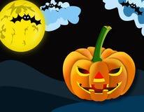 Abóbora de Dia das Bruxas no fundo da lua e dos bastões Foto de Stock Royalty Free