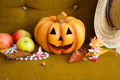 Abóbora de Halloween com chapéu. Foto de Stock Royalty Free