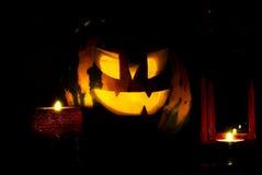 Abóbora de Halloween da noite Fotografia de Stock