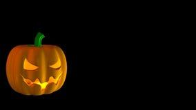 Abóbora de Halloween dos desenhos animados no preto Foto de Stock Royalty Free