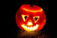 Abóbora de Halloween em alguma grama Foto de Stock Royalty Free