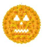 Abóbora de Halloween (folhas de outono) Fotos de Stock