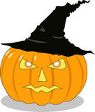 A abóbora de Halloween no chapéu Imagem de Stock Royalty Free