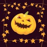 Abóbora de Halloween no preto Imagens de Stock Royalty Free
