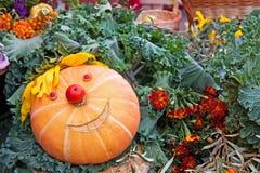 Abóbora de sorriso em um festival da colheita Imagem de Stock