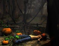 Abóbora do caráter de Halloween que encontra-se para baixo Fotografia de Stock Royalty Free
