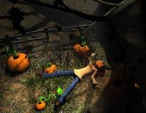 Abóbora do caráter de Halloween que encontra-se para baixo Imagem de Stock