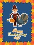 Abóbora do peru do menino Cartão feliz do dia da ação de graças com folhas da criança e rotulação das felicitações Ilustração do  Fotografia de Stock