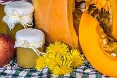 A abóbora e a abóbora bloqueiam, puré ou molho no verde com toalha de mesa branca Do outono vida ainda Foto de Stock