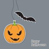 Abóbora e bastão de Halloween Imagens de Stock Royalty Free