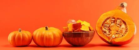 Abóbora e fatias Autumn Healthy Food Nutrition Seasona da abóbora fotografia de stock