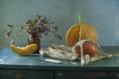 Abóbora e flores Fotografia de Stock