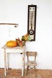 Abóbora e flowesr na tabela rústica velha Imagens de Stock Royalty Free