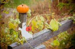 A abóbora e o fantasma do Dia das Bruxas do outono figuram na cerca de madeira imagens de stock