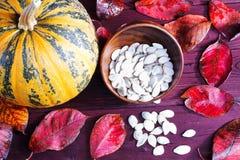 Abóbora e sementes de abóbora Fotos de Stock