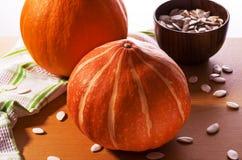 Abóbora e sementes de abóbora Imagens de Stock Royalty Free