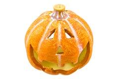Abóbora feliz de Halloween isolada no branco Fotos de Stock