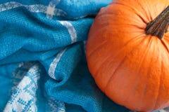 Abóbora fresca no fundo do tecido Imagem de Stock