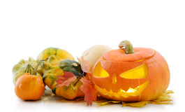 Abóbora Jack O'Lantern de Halloween Fotos de Stock Royalty Free