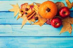 Abóbora, maçãs e especiarias Imagens de Stock Royalty Free