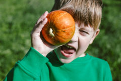 Abóbora nas mãos do menino dos anos de idade 5 em uma camiseta verde Foto de Stock
