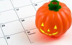 Abóbora no calendário Foto de Stock Royalty Free