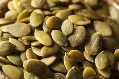 Abóbora orgânica crua Pepita Seeds Fotografia de Stock