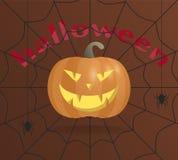 Abóbora para Halloween Sorriso irritado com colmilhos Em um fundo marrom com uma Web e as aranhas de aranha ilustração royalty free