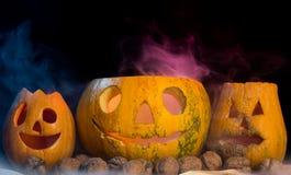 Abóboras assustadores de Dia das Bruxas Fotografia de Stock Royalty Free