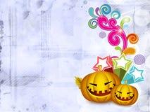 Abóboras assustadores de Halloween em floral retro Imagem de Stock Royalty Free