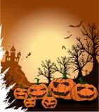 Abóboras assustadores em uma noite de Halloween Fotos de Stock Royalty Free
