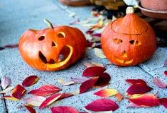 Abóboras das Jack-o-lanternas de Dia das Bruxas Imagens de Stock Royalty Free