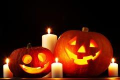 Abóboras de Dia das Bruxas com velas Fotografia de Stock