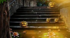 Abóboras de Dia das Bruxas na jarda da noite de pedra velha da escadaria no Br Imagens de Stock
