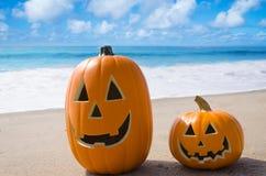 Abóboras de Dia das Bruxas na praia Imagem de Stock Royalty Free