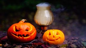 Abóboras de Dia das Bruxas na tabela de madeira Imagem de Stock Royalty Free