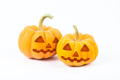 Abóboras de Halloween no fundo branco Imagem de Stock Royalty Free