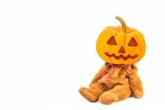 Abóboras de Halloween no fundo branco Fotografia de Stock Royalty Free