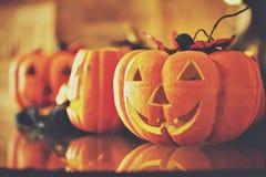 Abóboras de Halloween Projeto da beira Fotografia de Stock