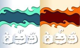 Abóboras de sorriso de papel Fotografia de Stock Royalty Free