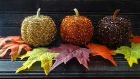 Abóboras do brilho com folhas de outono Fotografia de Stock Royalty Free
