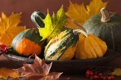 Abóboras e folhas de outono decorativas para o Dia das Bruxas Fotografia de Stock